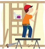 stock photo of framing a building  - A working man constructing a wooden frame for a building - JPG
