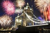Tower bridge with firework, celebration of the New Year in London, UK l