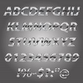 Metal letters style alphabet collection set