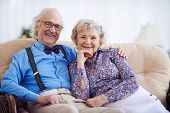 Happy pensioners in smart clothes sitting on sofa