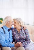 Elegant retired couple looking at one another