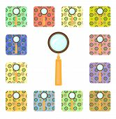 Set of magnifier icons
