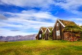Traditional Icelandic turf houses in the town of Holar