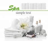 Spa setting on table isolated on white