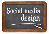 social media design  - white chalk text on a vintage slate blackboard