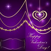 Vector Saint Valentine lilac invitation card with hearts and golden jewelry