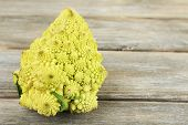 foto of romanesco  - Romanesco broccoli on wooden table - JPG
