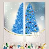 New year set of postcards c blue Christmas