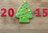 Christmas 2015 cookie on wooden table