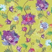 Vector Floral Pattern With Chrysanthemum, Peony, Aster. Asian Theme