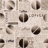 Coffee pattern in newspaper style.