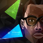 illustration of an african american man face in polygonal style. modern poster, flyer with fashion,