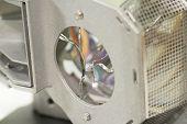 Broken projector lamp, closeup