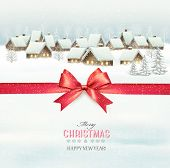 Holiday Christmas background with a village and a red gift ribbon. Vector.