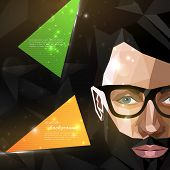 illustration with man face in polygonal style. modern poster of fashion, beauty or entertainment con