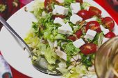 Salad With Tomatoes, Feta Cheese And Seafood