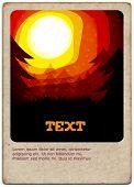 Golden Sunset card  - Vector Illustration