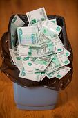 Rubles In Trash Bin