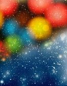 abstract Christmas background with colorful bokeh and white snowflakes