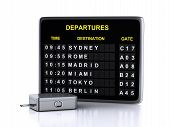 3d airport board and travel suitcases