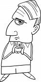 Thinking Man Cartoon Coloring Page
