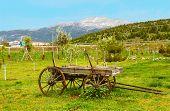 Vintage Wood Wagon Near Mountain, Turkey