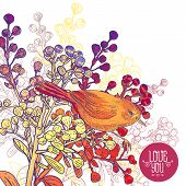 Floral Greeting Card with Birds and Branches