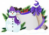 Snowman With Purple Hat And Scarf