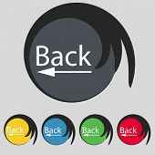 Arrow Sign Icon. Back Button. Navigation Symbol. Set Of Colored Buttons Vector