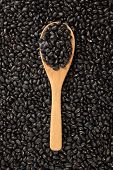 Black Beans With Wooden Spoon