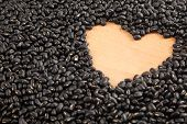 Black Beans With Heart Shape Space