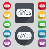 Yes Sign Icon. Set Of Colored Buttons. Vector