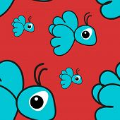 Seamless Pattern With Blue Cartoon Bird On A Pink Background