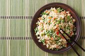 Japanese Fried Rice With Egg And Peas Top View Horizontal