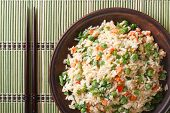 Japanese Fried Rice With Egg, Vegetables Close-up Top View