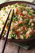 Asian Fried Rice With Egg And Vegetables Close-up, Vertical