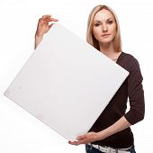 Smiling Woman Show Big Blank Board