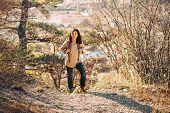 Hiker Woman Trekking In Autumn Outdoor