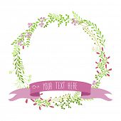 Decorative round floral border with place for your text