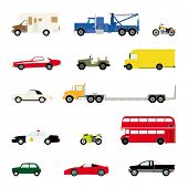 Transportation and Automotive Symbol Vector Set. Set of fourteen motor vehicle icons, flat design.