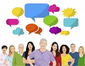 Multi-Ethnic Group of People and Speech Bubble