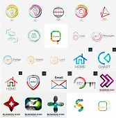 Set of abstract universal company logos - icons, swirls, letter, web symbols, loops and other