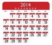Vector of December 2014 Calendar