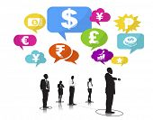 Group of Business People with Currency Symbols