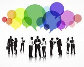 Vector of Business People Discussing with Speech Bubbles