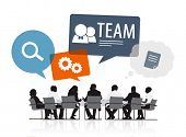 Group of Business People Meeting with Speech Bubble Team Concept