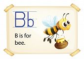 Illustration of alphabet B is for bee