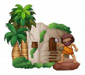 Illustration of a caveman standing in front of a house
