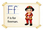 Illustration of alphabet F is for fireman