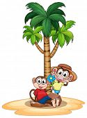 Illustration of two monkeys under the palm tree